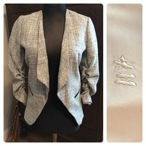 Gray Open Front Blazer with Ruched Sleeves